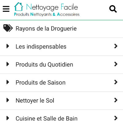 Droguerie : Nouveau Menu sur la Version Mobile